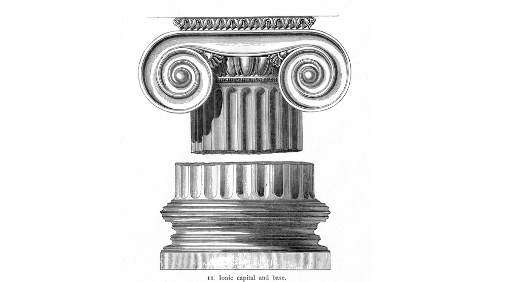 ionic order column capitals volutes greek architecture